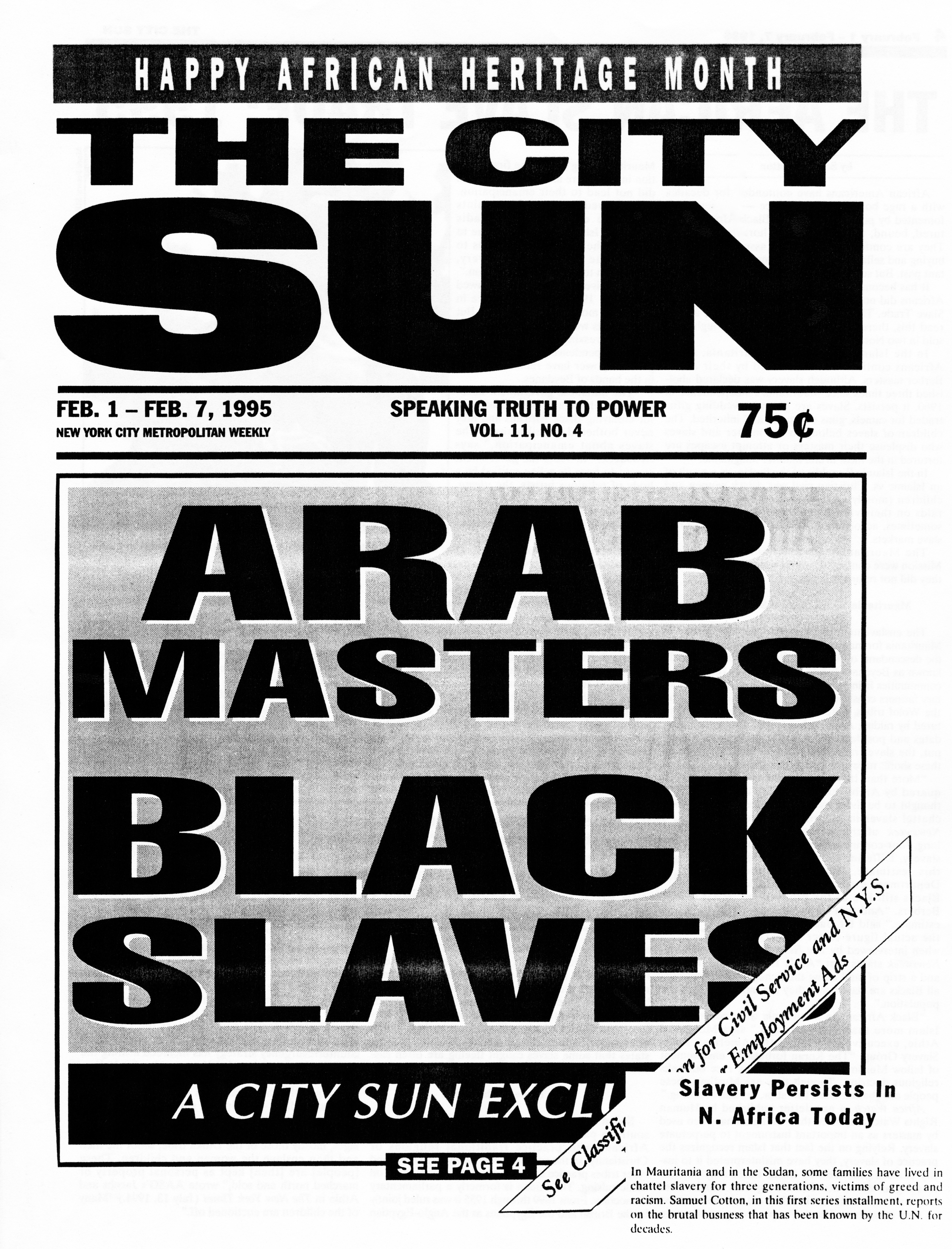 """The City Sun,"" ""Arab Masters, Black Slaves,"" February 1 – 7, 1995, p. 1"