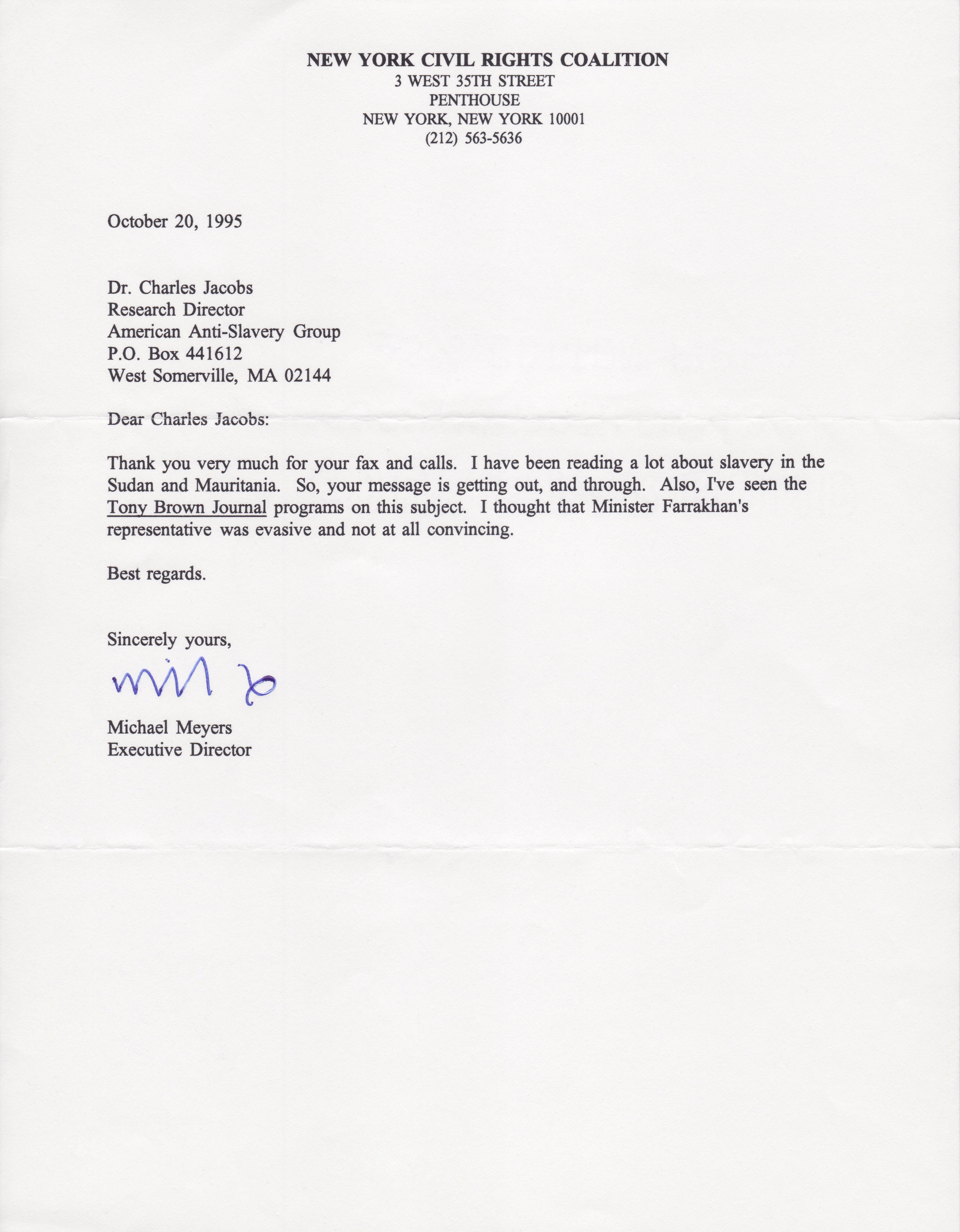 Letter to Dr. Charles Jacobs from Michael Meyers (October 20, 1995)