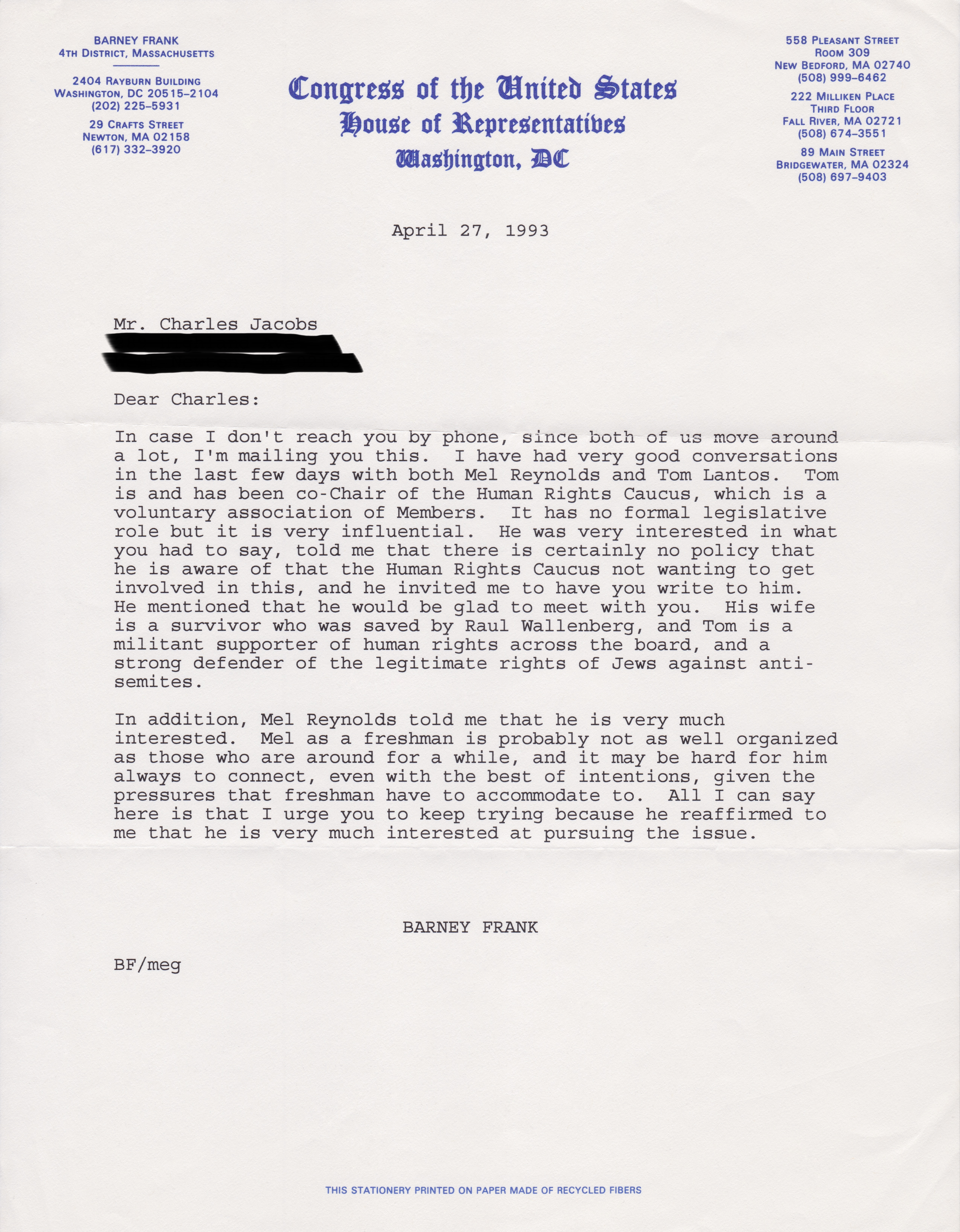 Letter to Dr. Charles Jacobs from Representative Barney Frank (April 27, 1993)