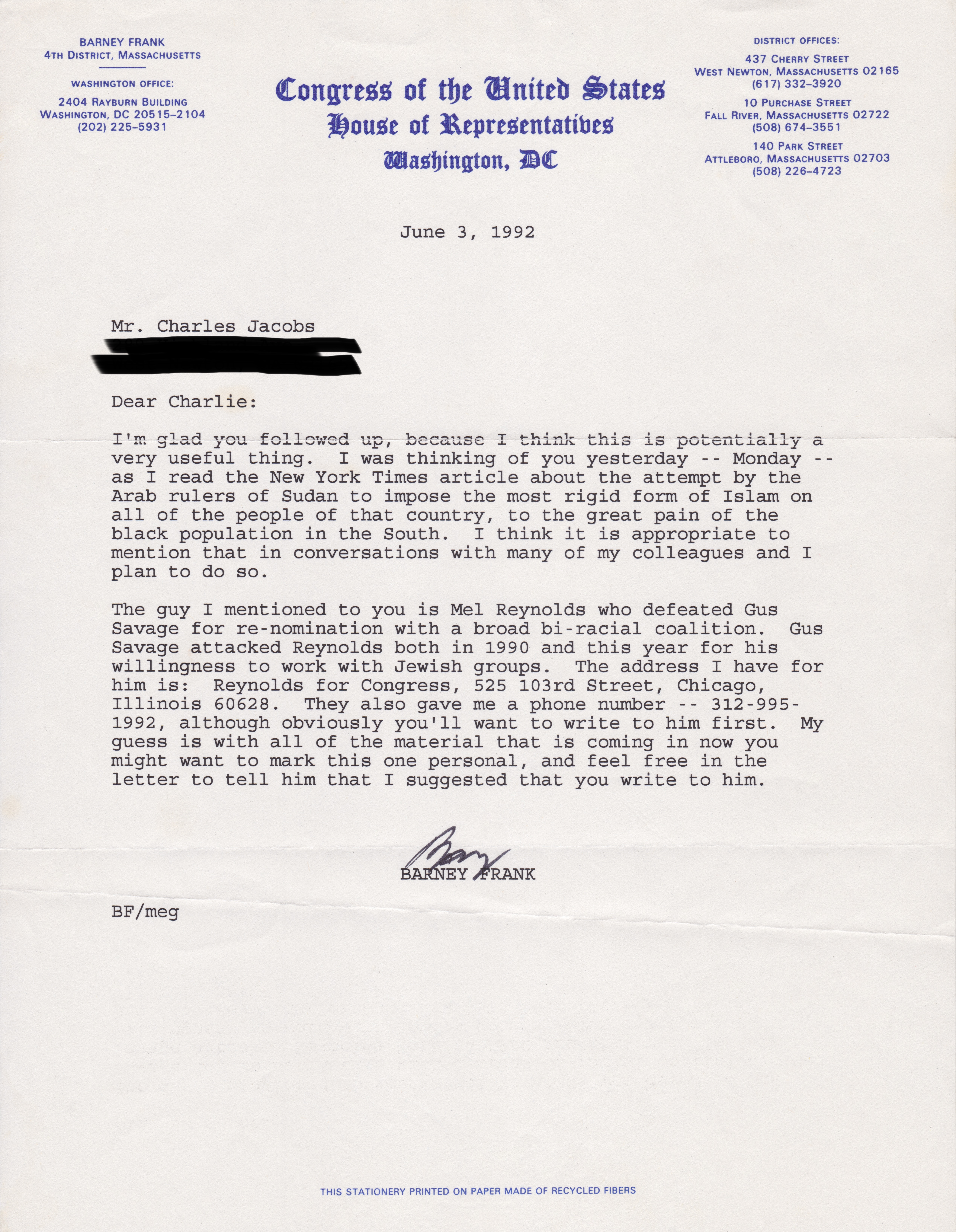 Letter to Dr. Charles Jacobs from Representative Barney Frank (June 3, 1992)