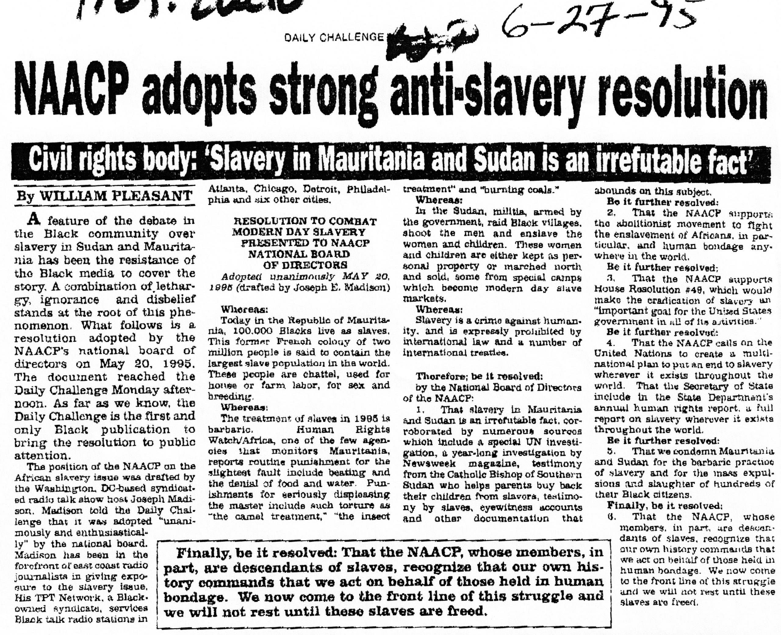 """William Pleasant, """"NAACP adopts strong anti-slavery resolution,"""" """"The Daily Challenge,"""" June 27, 1995"""