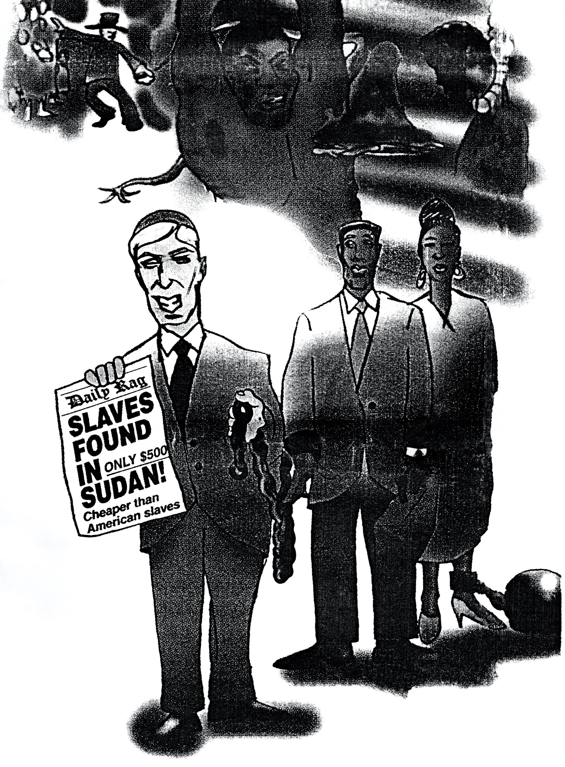 "Cartoon of Charles Jacobs in Dr. Kaukab Siddique, ""A critical look at 'Slavery in Sudan,'"" ""The Final Call,"" July 16, 1996, p. 23"