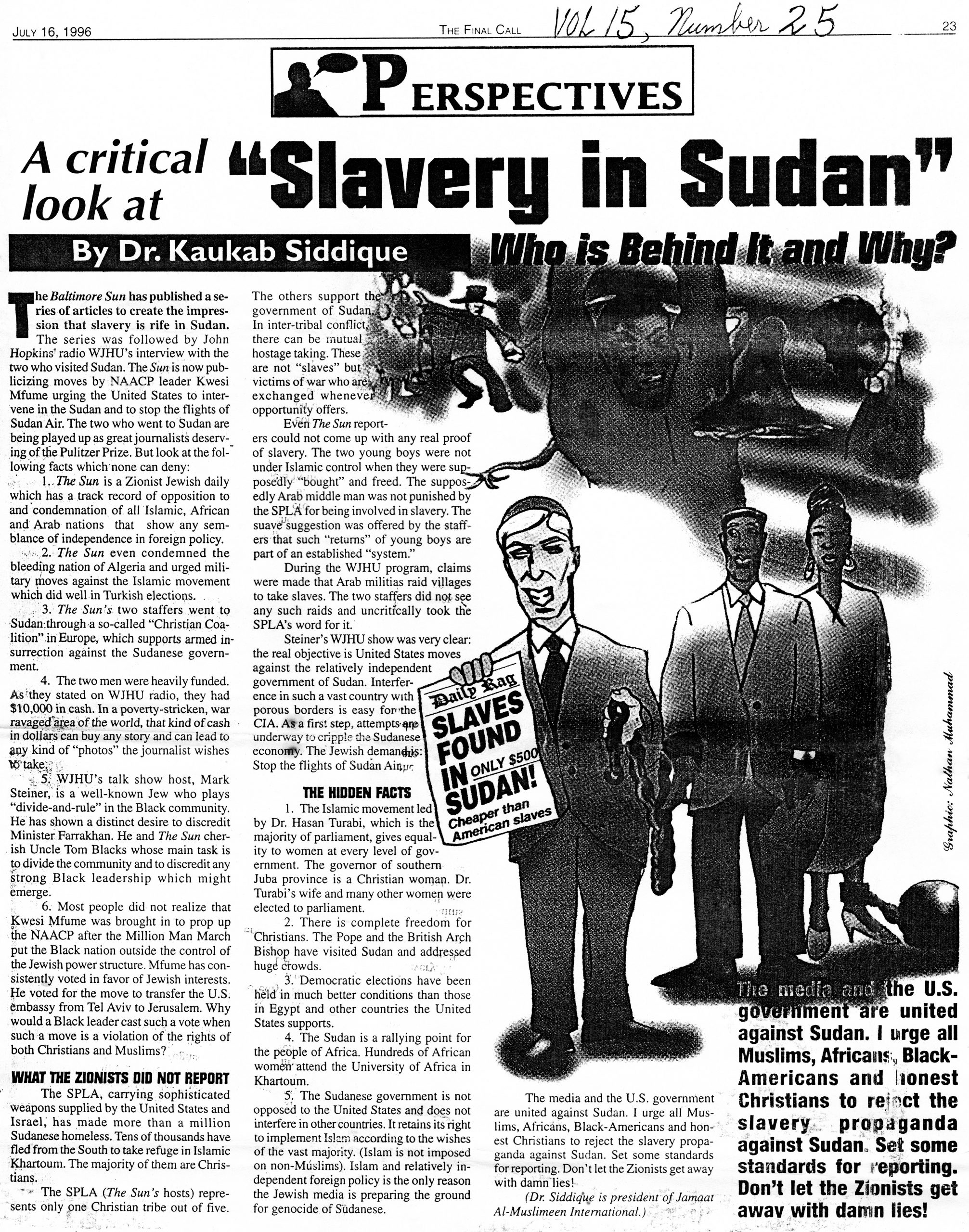 "Dr. Kaukab Siddique, ""A critical look at 'Slavery in Sudan,'"" ""The Final Call,"" July 16, 1996, p. 23"