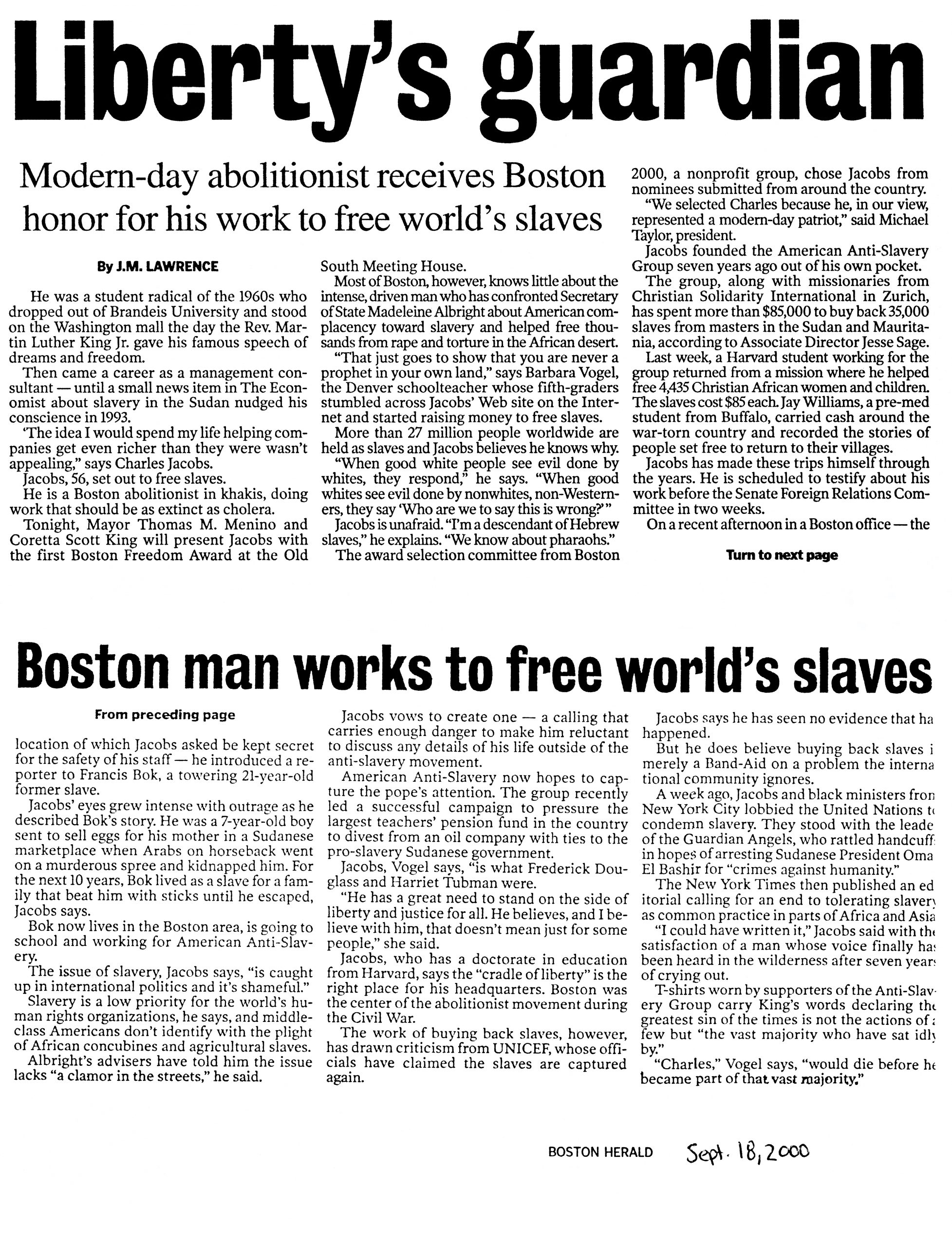 "J. M. Lawrence, ""Liberty's guardian,"" ""The Boston Herald,"" September 18, 2000"