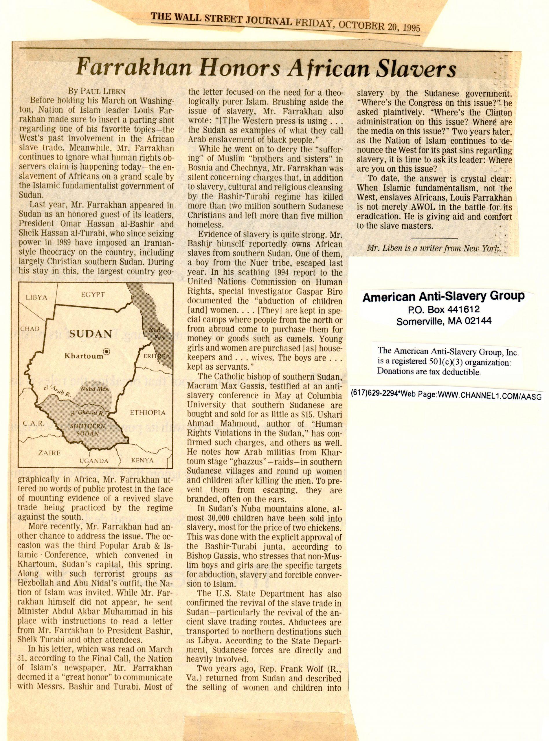 """Paul Liben, """"Farrakhan Honors African Slavers,"""" """"The Wall Street Journal,"""" October 20, 1995"""