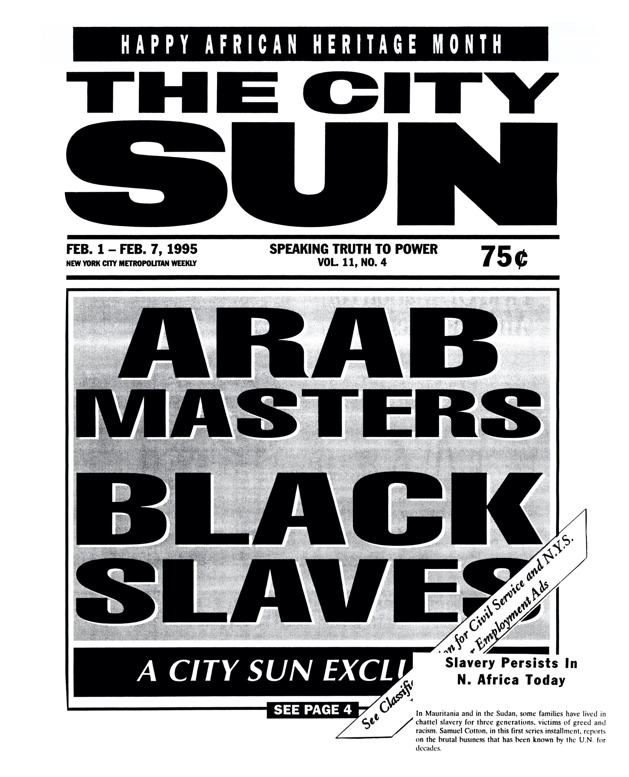 """The City Sun,"" ""Arab Masters, Black Slaves,"" February 1 – February 7, 1995, p. 1 (Black and White)"