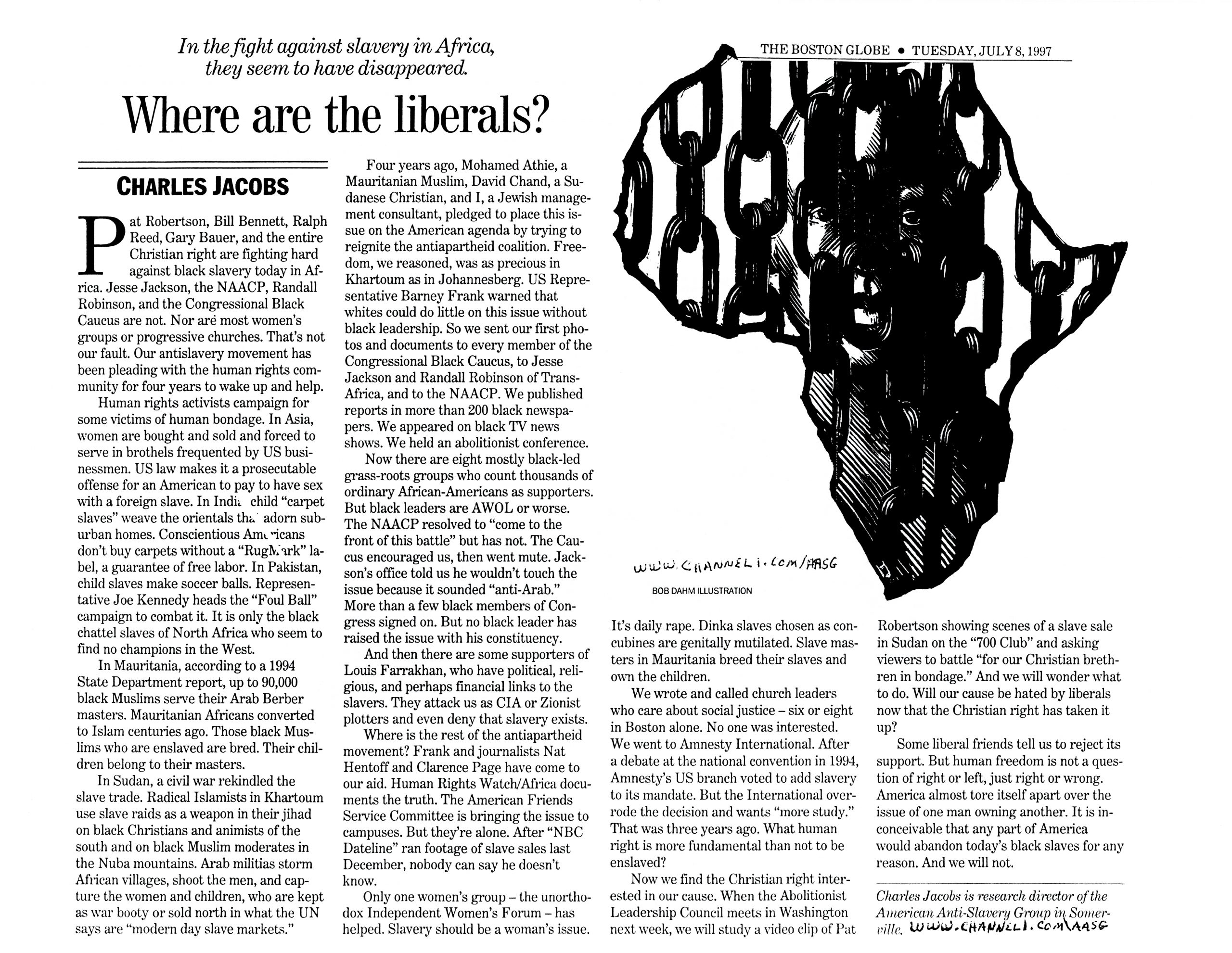 "Dr. Charles Jacobs, ""Where are the liberals?"", ""The Boston Globe,"" July 8, 1997"