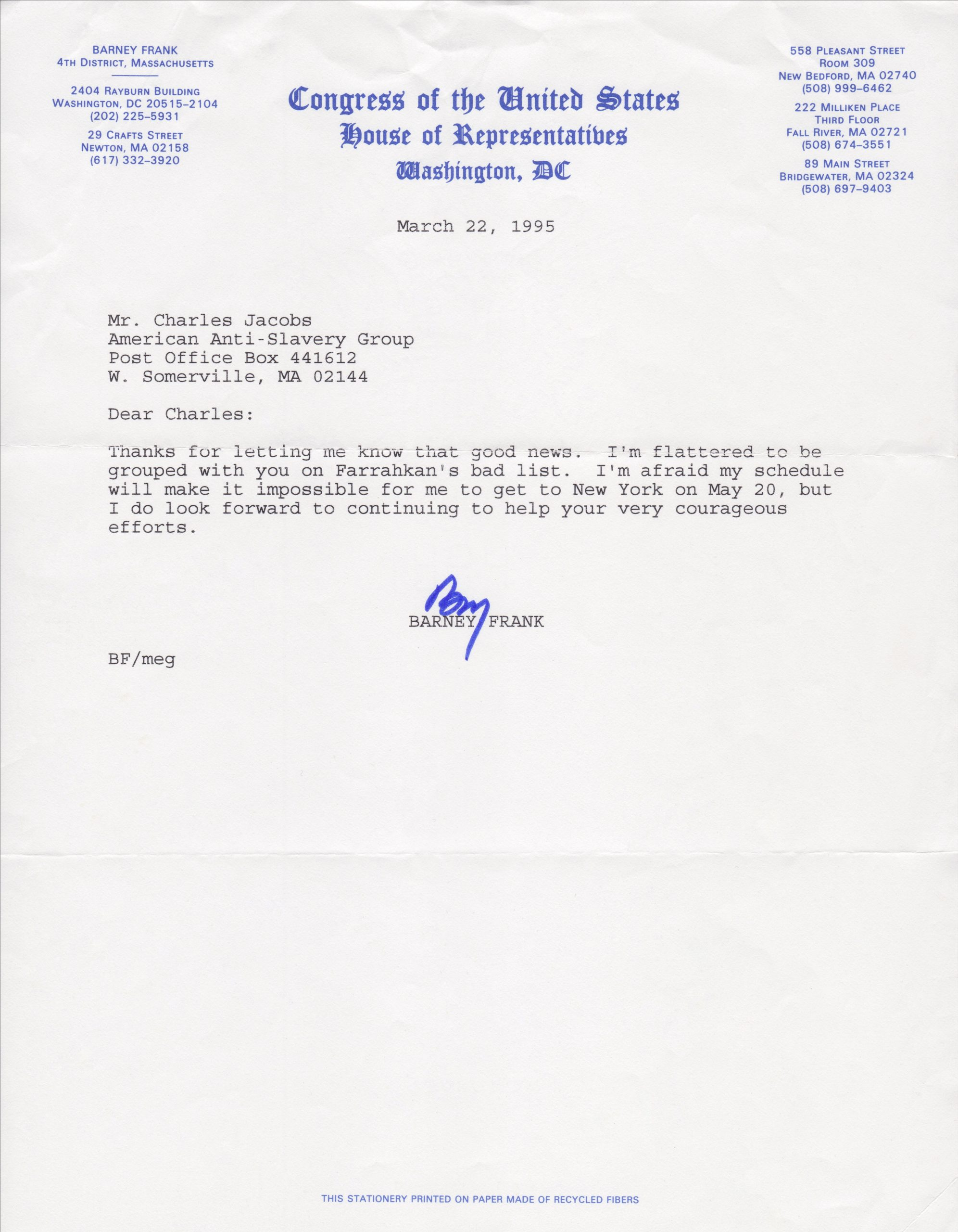Letter to Dr. Charles Jacobs from Representative Barney Frank (March 22, 1995)