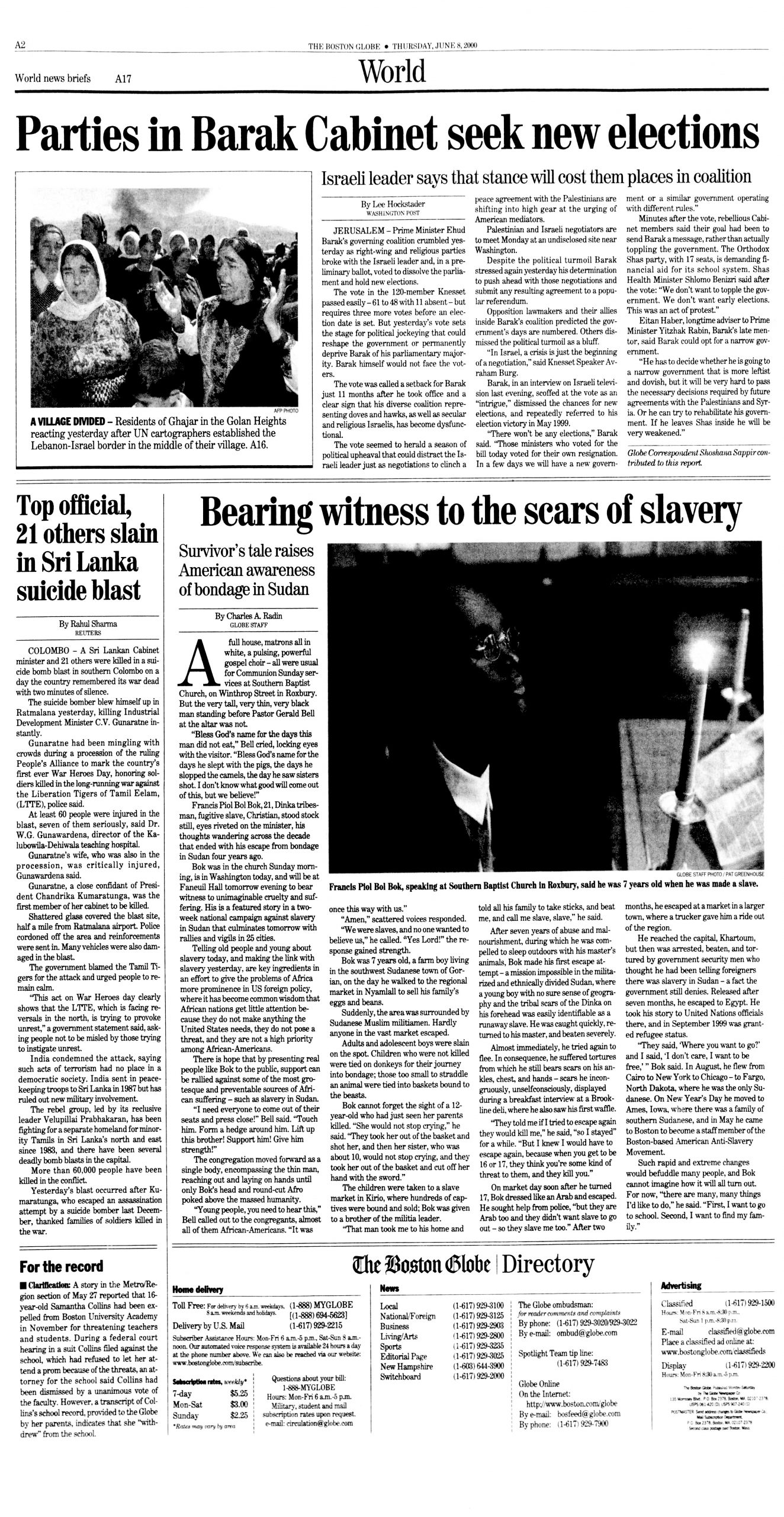 "Charles A. Radin, ""Bearing witness to the scars of slavery,"" ""The Boston Globe,"" June 8, 2000, p. A-2"