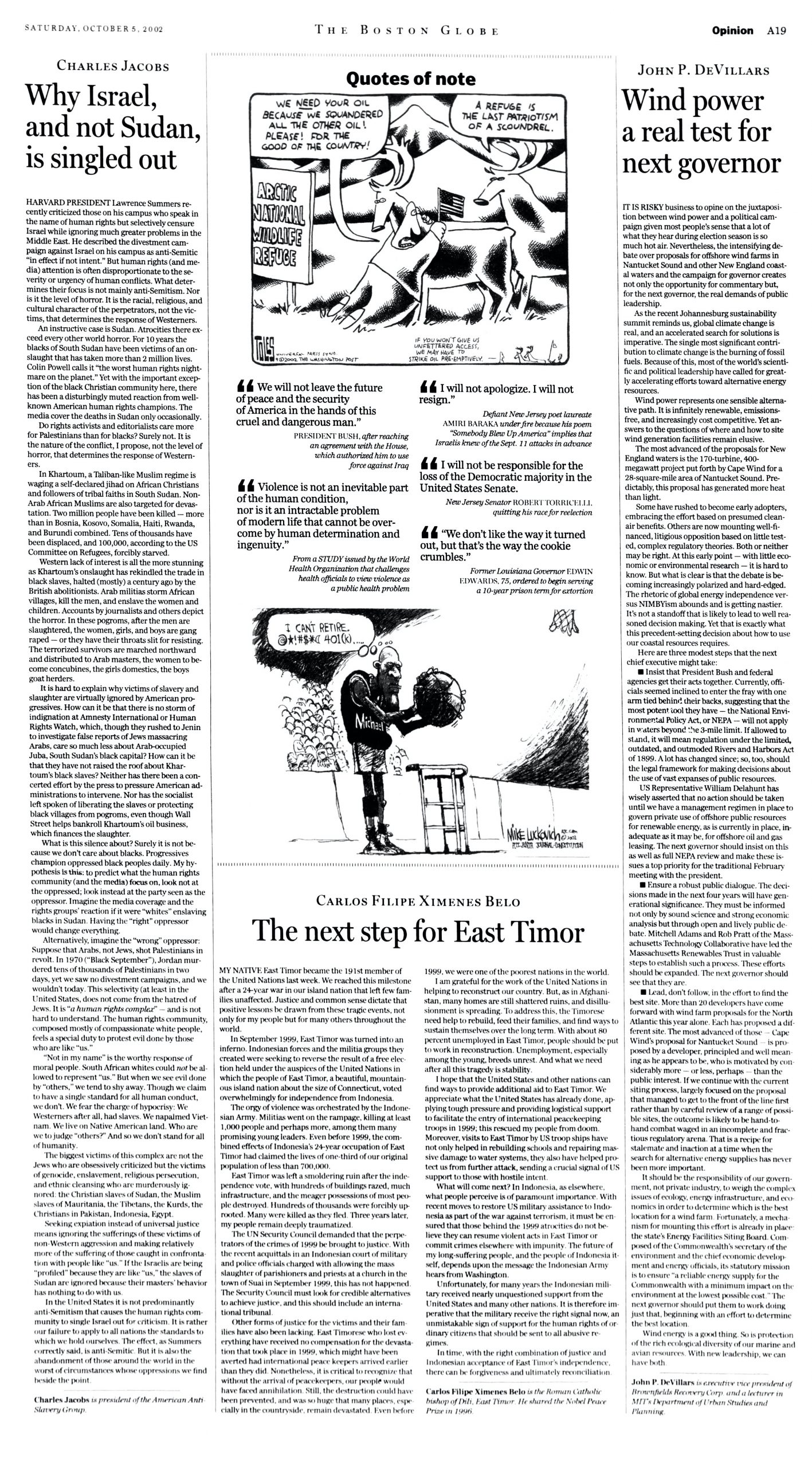 """Dr. Charles Jacobs, """"Why Israel, and not Sudan, is singled out,"""" """"The Boston Globe,"""" October 5, 2002, p. A-19"""