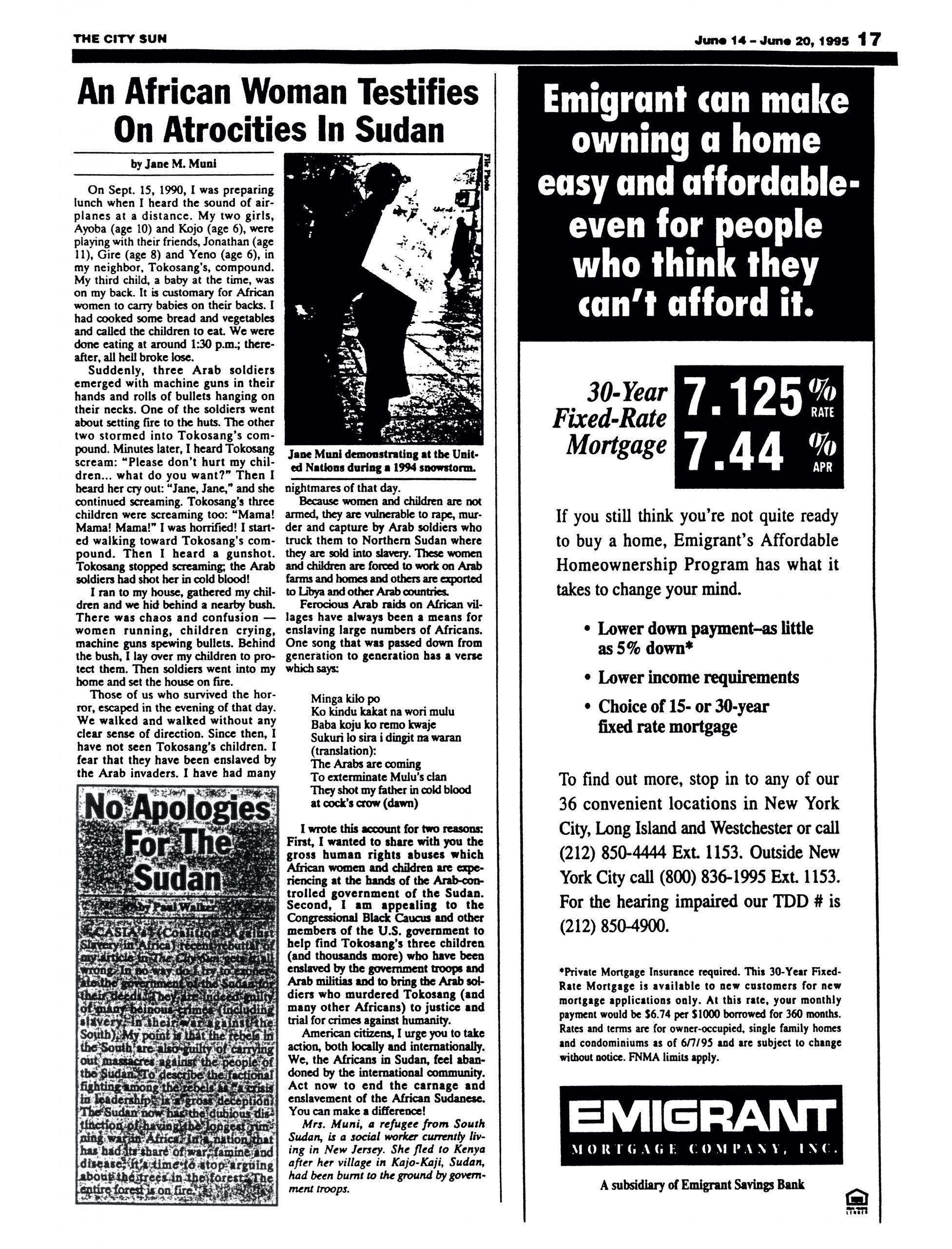 "Jane M. Muni, ""An African Woman Testifies On Atrocities In Sudan,"" ""The City Sun,"" June 14 – 20, 1995, p. 17"