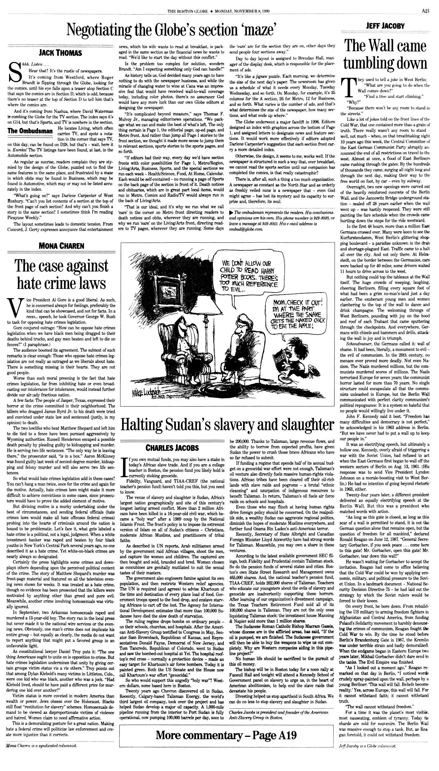 "Dr. Charles Jacobs, ""Halting Sudan's slavery and slaughter,"" ""The Boston Globe,"" November 8, 1999, p. A-21"